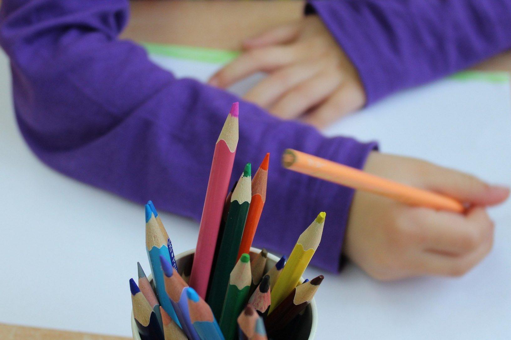 Child drawing gardening activities