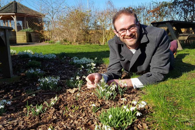 Jan with snowdrops 1 of 1