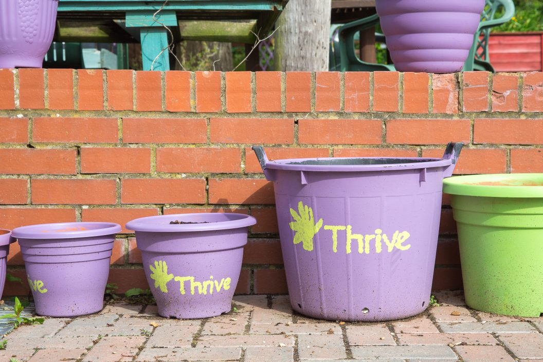 Thrive painted buckets Charlie Garner 2019